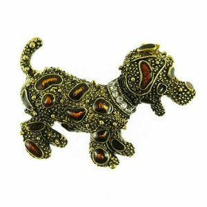 Gold Plated Crystal Enamel Cute dog brooch.